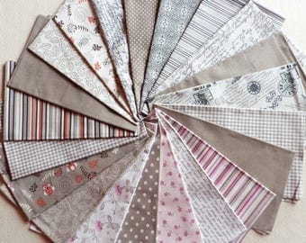 21 coupons patchwork fabric seam 30 X 14 cm TAUPE cotton