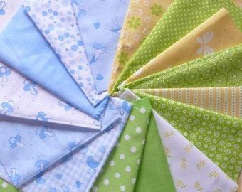 Set of 15 coupons patchwork fabric cotton seam 30 X 13 cm 0907 blue green tones.