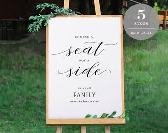 Choose a Seat not a Side Sign Template, Printable Choose a Seat Sign, Welcome Wedding Sign, PDF Template, Modern Wedding, DIY  #SPP056css