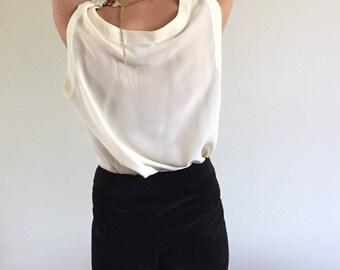 Vintage 90s Ivory Silk Semi Sheer Tank / Sleeveless Silk Tunic