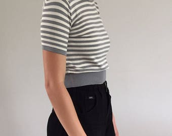 Vintage 90s Pewter & Cream Striped 100% Silk Cropped Sweater Tee S