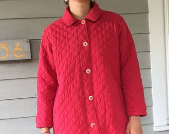 Vintage 90s Minimal Red Quilted LL Bean Car Coat | S/M
