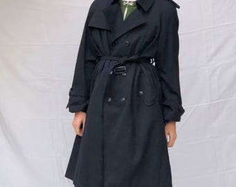 80s Gabardine Double Breasted Belted Trench Coat Midnight Blue   S M L