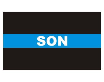 Thin Blue Line Son Police Officer Law Enforcement Decal / Sticker #197 Made in U.S.A.