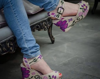 Hand embroidered purple floral peep toe wedges for women