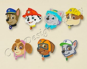 SALE! SET Paw Patrol head applique embroidery design, Paw Patrol Machine Embroidery Designs, Embroidery designs for baby, 7 designs #021