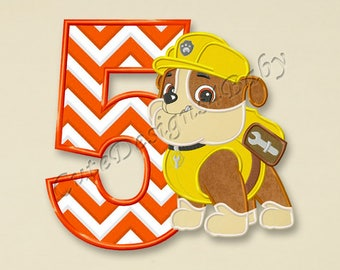 Paw Patrol Rubble Fifth birthday applique embroidery designs, First birthday Machine Embroidery Design, designs baby, Instant download #086