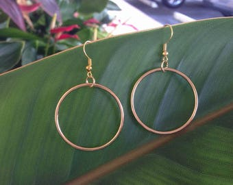 Gold Round Hoop Wire Earrings