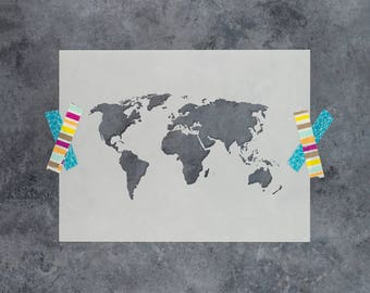 World Map Stencil - Reusable DIY Craft Stencils of a World Map