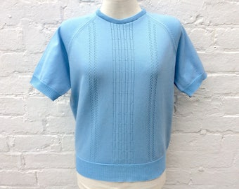 Vintage 50s style top, blue retro short sleeved pullover, women's fashion