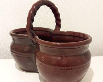Vintage Brown Glazed Ceramic Basket, Pottery basket, Kitchen Decor, USSR, Soviet