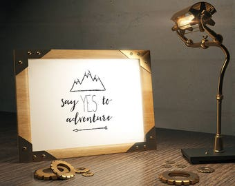 Say Yes to Adventure Framed Print,Mountains, Arrows, Wanderlust, typographic, monochrome wall art, A4, A3, Digital print, Adventure