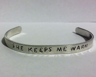 She Keeps Me Warm Thin Metal Stamped Adult Bangle Bracelet - Gifts for Her - Mary Lambert - Lesbian - LGBT