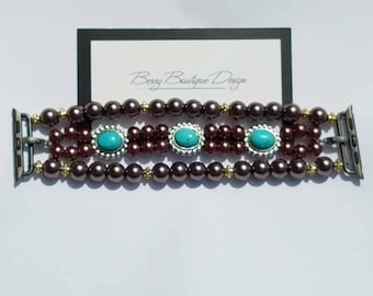 """Apple Watch Band 38mm, Apple Watch Band 42mm, Apple Watch Band, Beaded Chocolate and Turquoise Slider watch band, Style """"Brown Eyed Girl"""""""