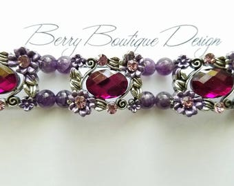 "Apple Watch Band 38mm, Apple Watch Band 42mm, Antique Silver Slider with Purple crystal rhinestone & Amethyst Beads, Style ""Amy"""
