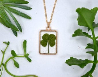 "Dainty Genuine 4 Leaf Clover Necklace [AC 015] /Rose Gold Tone 18"" Necklace / White Clover Pendant/Triforium Repens/Good Luck Charm"