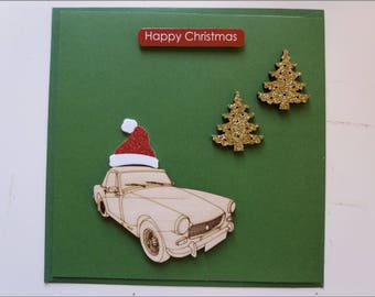 MG Midget (Round Wheel Arch) with Christmas Trees and Santa Hat - Handmade Christmas Card (1 Card)