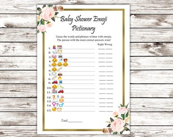 INSTANT DOWNLOAD Baby Shower Emoji Pictionary Game