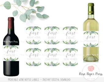 Marriage Milestone Wine Labels | Succulent Wine Labels, Wedding Wine Labels | Marriage Firsts, Year of Firsts Wine Labels | Instant Download