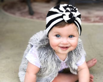 Black and white, baby turban, knot turban, baby hat