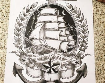 ship design for postcards or keyrings, stormy weather shin anchor design