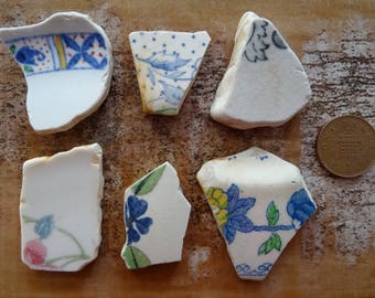 PATTERNED SEA POTTERY ~ Sea Tumbled Treasure ~ Floral Sea Pottery ~Jewellery Making ~ Mosaic Making ~ Lucky Charms