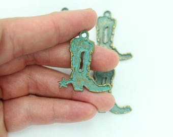 4pc Cowboy Charms, Pewter Charms, Wholesale Charms, Cowboy boot Charms, Western Charms