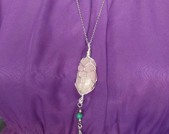 Rose Quartz and Turquoise Necklace with Feather Charm, Long