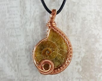 Copper Wire Wrapped Ammonite // Handmade Pendant
