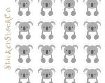 Koala Bear Stickers, Animal Stickers, Koala Bear Envelope Seals, Planner Stickers, Planning Accessories