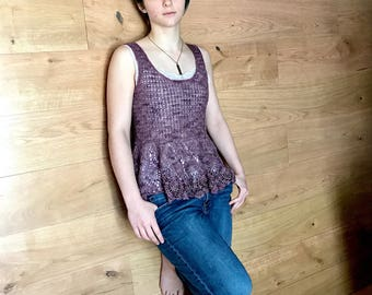 Handmade Crochet Purple Top 100% Merino Wool