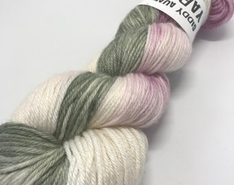 Hand Dyed Yarn Oddball Sage Green & Plum Variegated 100g Hank Approx 225m DK Double Knitting 80/20% Superwash Merino/Bamboo Mulesing Free