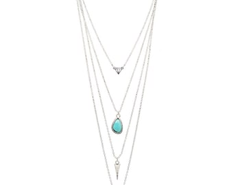 Necklace multi strand Dream & Faith / / / silver and turquoise