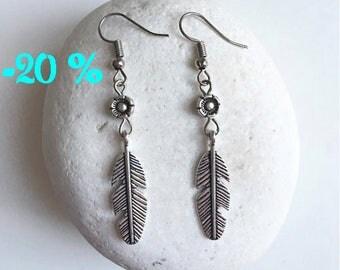 SUMMER SALE / / / boho Feather & Flower Silver earrings