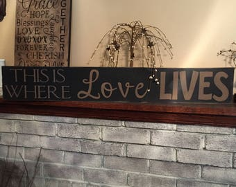 This is where love lives - large primitive wooden distressed sign