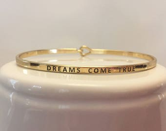 DREAMS COME TRUE Mantra Bangle/Bracelet - in Silver & Gold