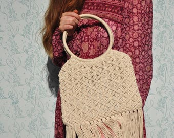 Macrame purse, white macrame purse, macrame handbag, 70s Macrame Purse, Macrame Bag, Macrame Bag Purse, Macrame Handbag, fringe bag
