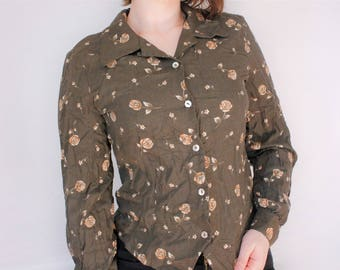 Vintage Liz Claiborne Forest Green Rose Pattern Button Down Shirt Small