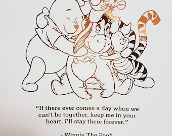 A4 foiled winnie the pooh and friends quote print - available in a variety of colours.