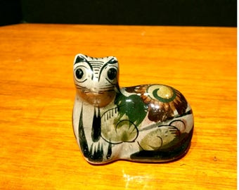 Vintage Tonala Cat Kitten Figurine Mexican Folk Art Hand Painted
