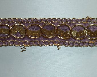 90 cm Ribbon with glitter purple colored fancy new width 2.5 cm