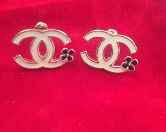 Classic Chanel CC Earrings with Chamelia Flower