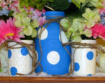 Clearance Sale! 3 Decorated mason jars, rustic centerpiece, birthday decor, painted mason jar, rustic wedding, baby shower, country décor