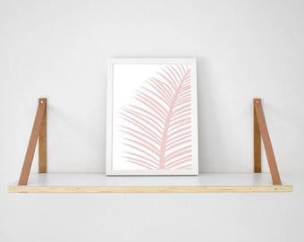 Blush pink tropical palm Leaf on white background print scandi poster monochrome typography millennial pink