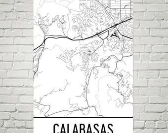 Calabasas California Map, Calabasas Art, Calabasas Print, Calabasas CA Poster, Calabasas Wall Art, Gifts, Map of California, Decor
