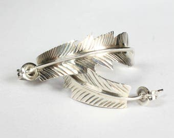 Feather Earrings Sterling Silver Navajo Indian Native American