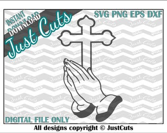 Praying Cross, SVG, cross SVG, praying, prayer, praying hands, religion, cross, hands, easter, jesus, god, holy, church, eps, png, DXF