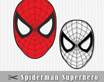 Spiderman Mask Superhero SVG DXF Png Logo Vector File Silhouette Cameo Cricut Design Birthday Party Template Stencil Vinyl Decal Heat Tshirt