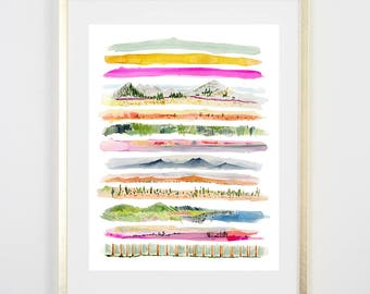 Wilderness Art Print / Watercolor / Gifts for her / Home Decor / Gift for mom / Colorful Decor/ Botanical Art / Rainbow / Original Art