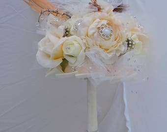 Bridal  bouquet, seven -inch round, wedding bouquet, bridesmaid bouquet, silk flower bouquet, Mother of bride bouquet,  gifts for her,
